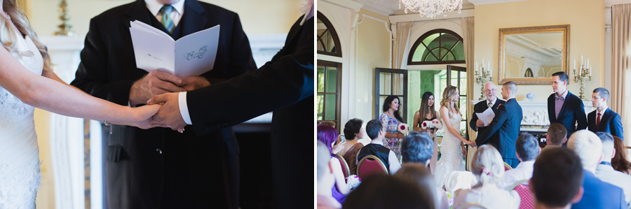 vows in drawing room at Hycroft Manor wedding in Vancouver, BC