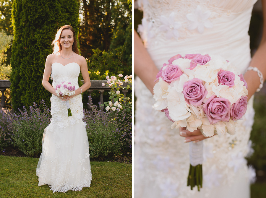 bride portrait in garden at Hycroft Manor wedding in Vancouver, BC | bride with chic pink and white rose bouquet