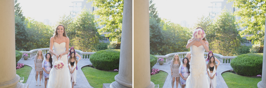 bride throwing bouquet at Hycroft Manor wedding in Vancouver, BC