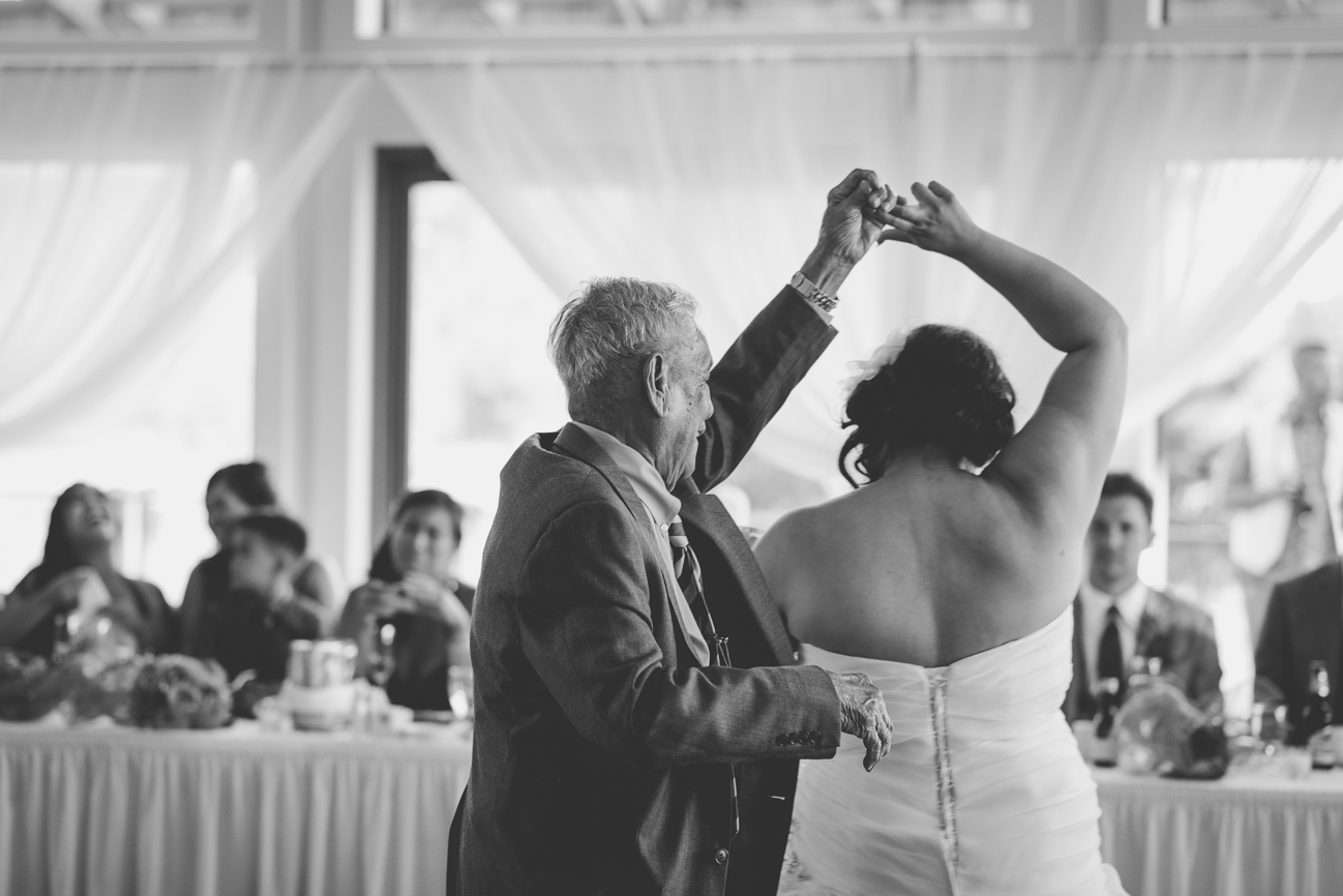 90 year-old grandfather spins bride during father daughter dance at wedding reception