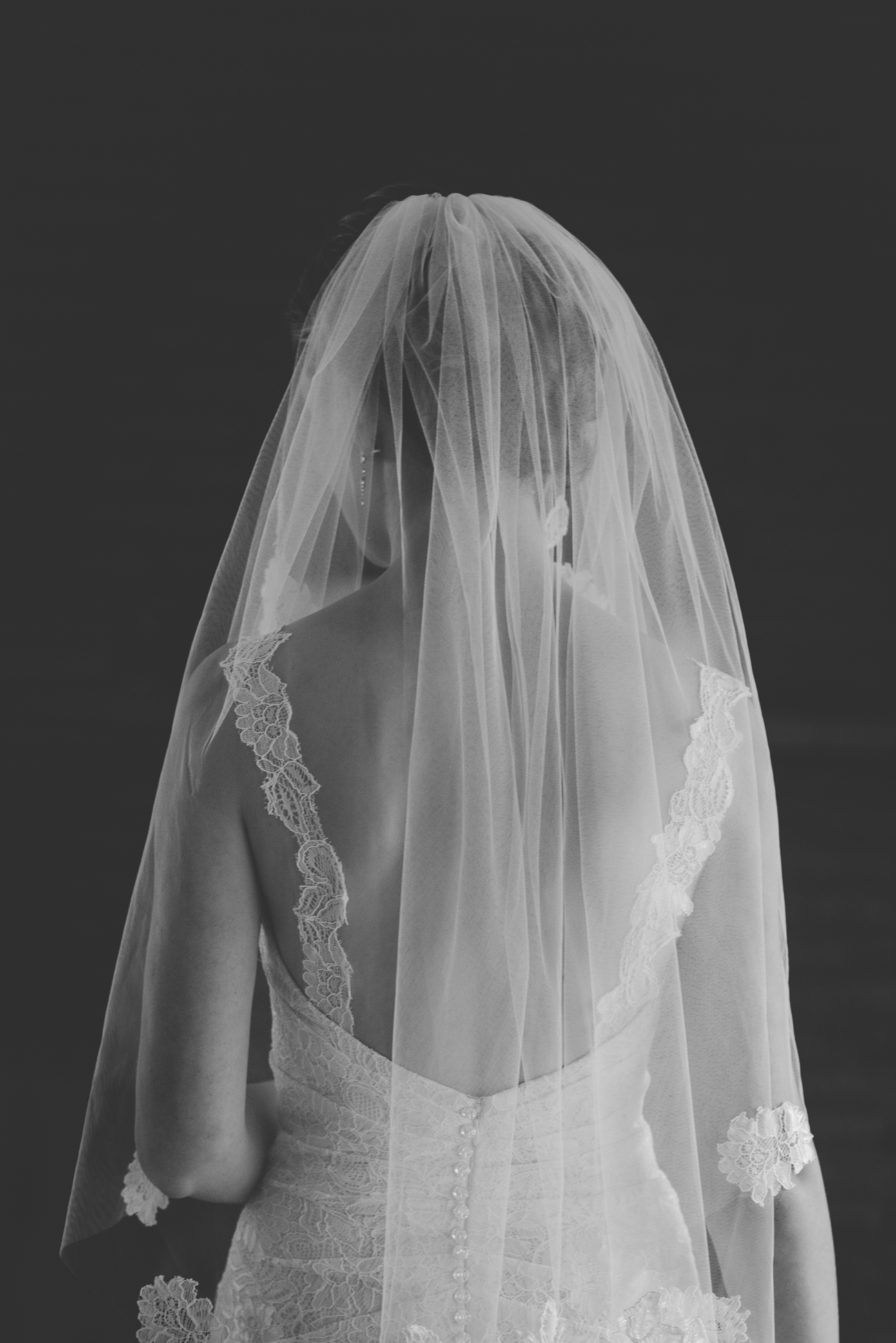bride in lace wedding dress and veil