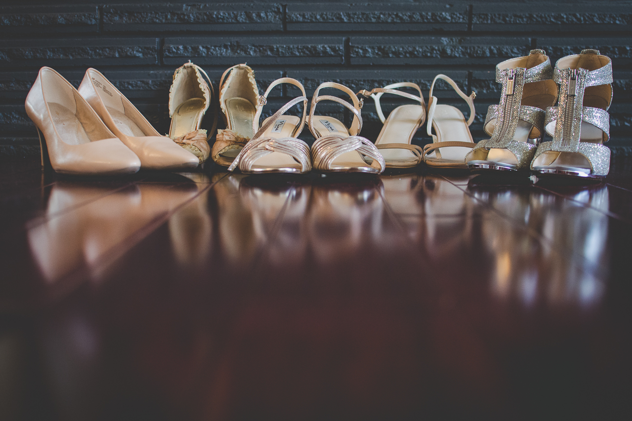 bride and bridesmaids ivory and blush shoes