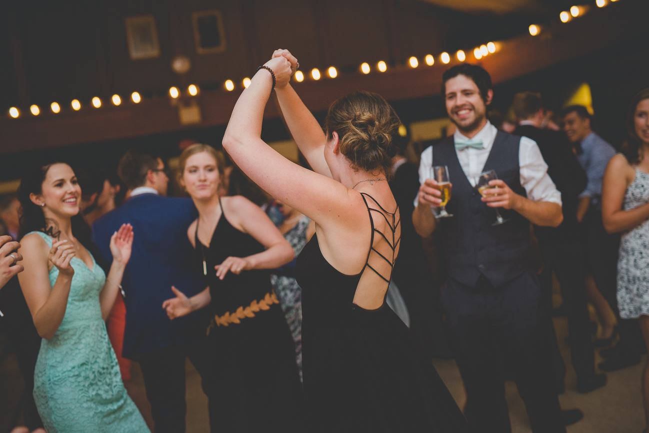 guests dancing during wedding reception