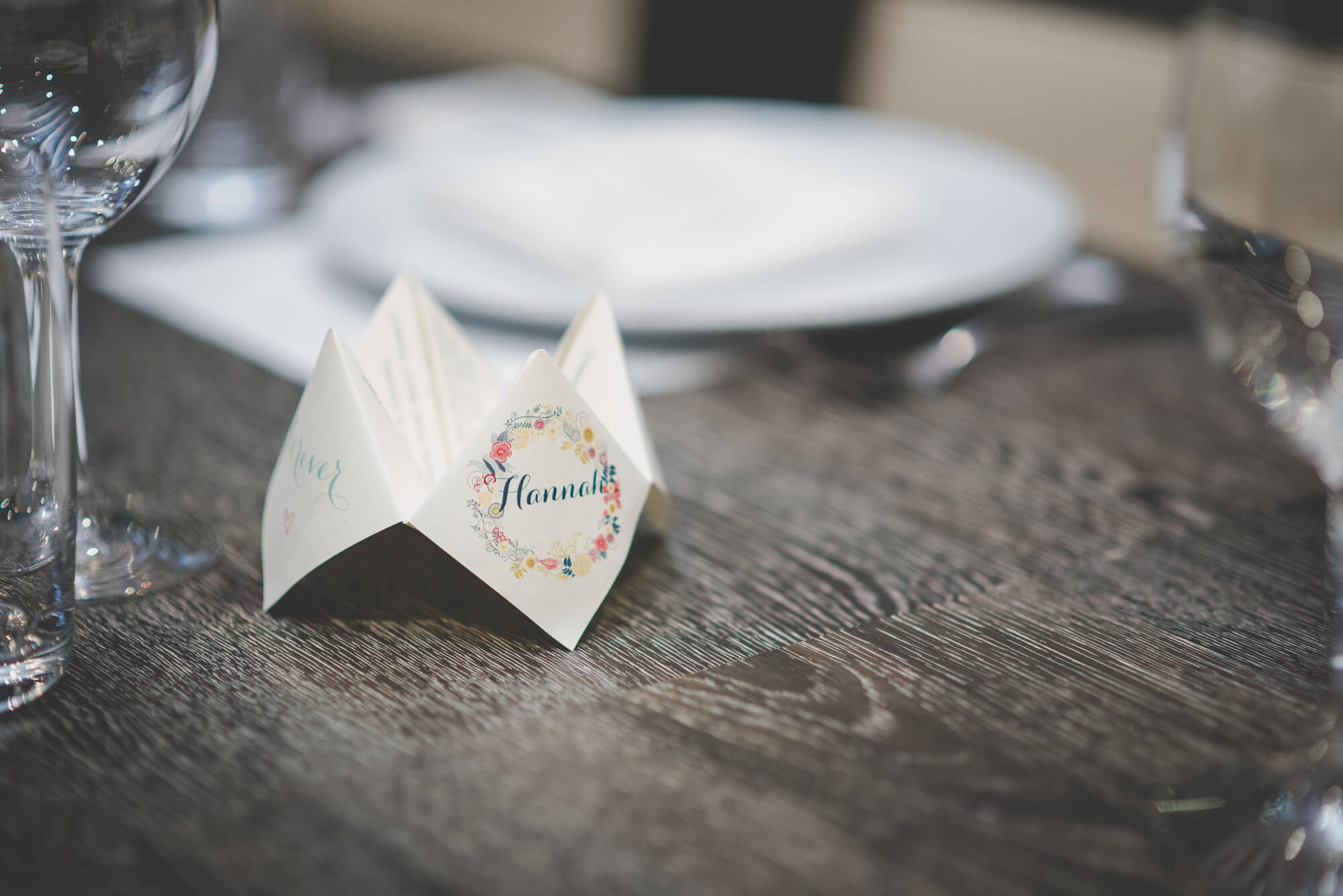 shabby chic fortune teller on table at wedding reception