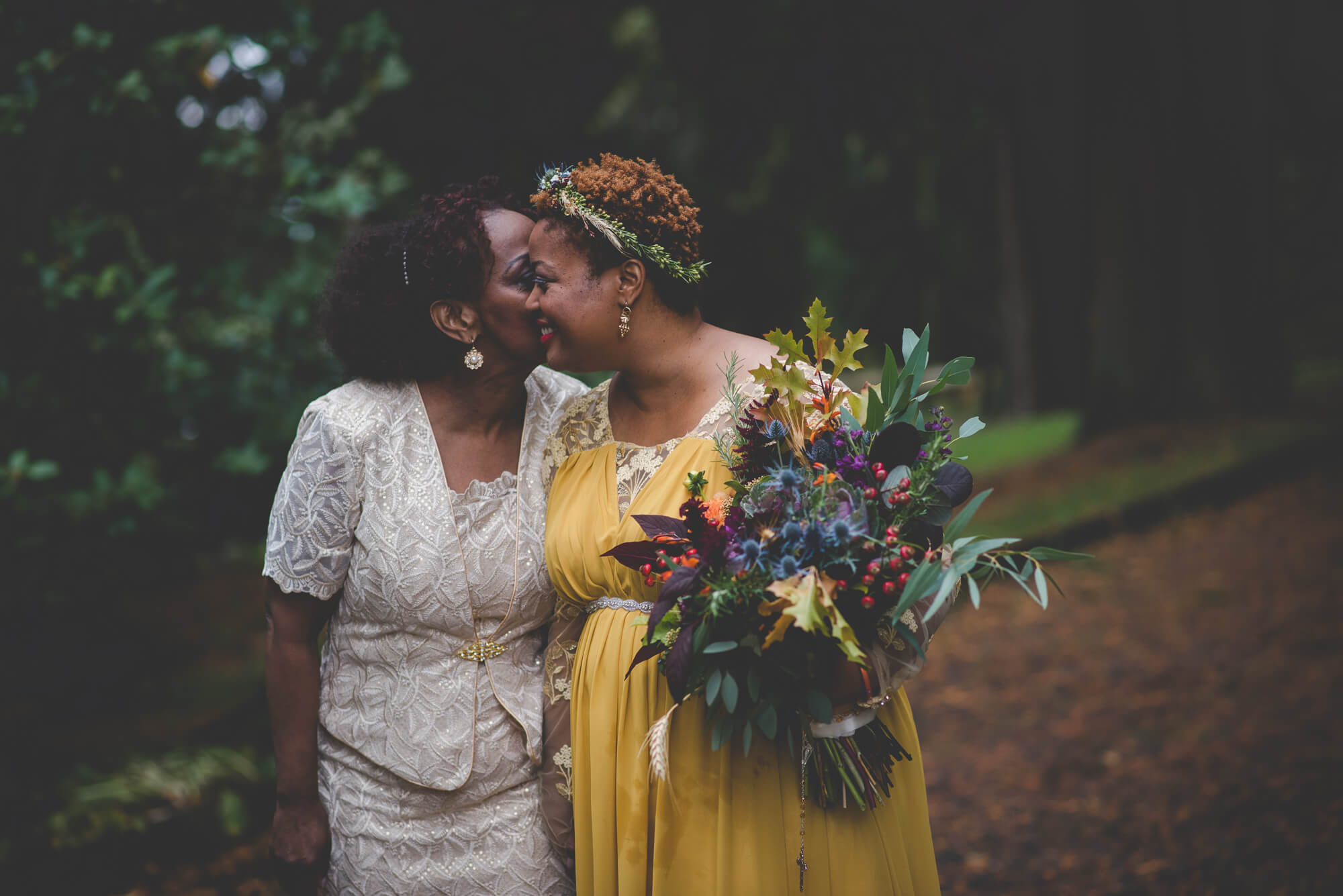 mother of the bride whispering in the bride's ear during family portraits