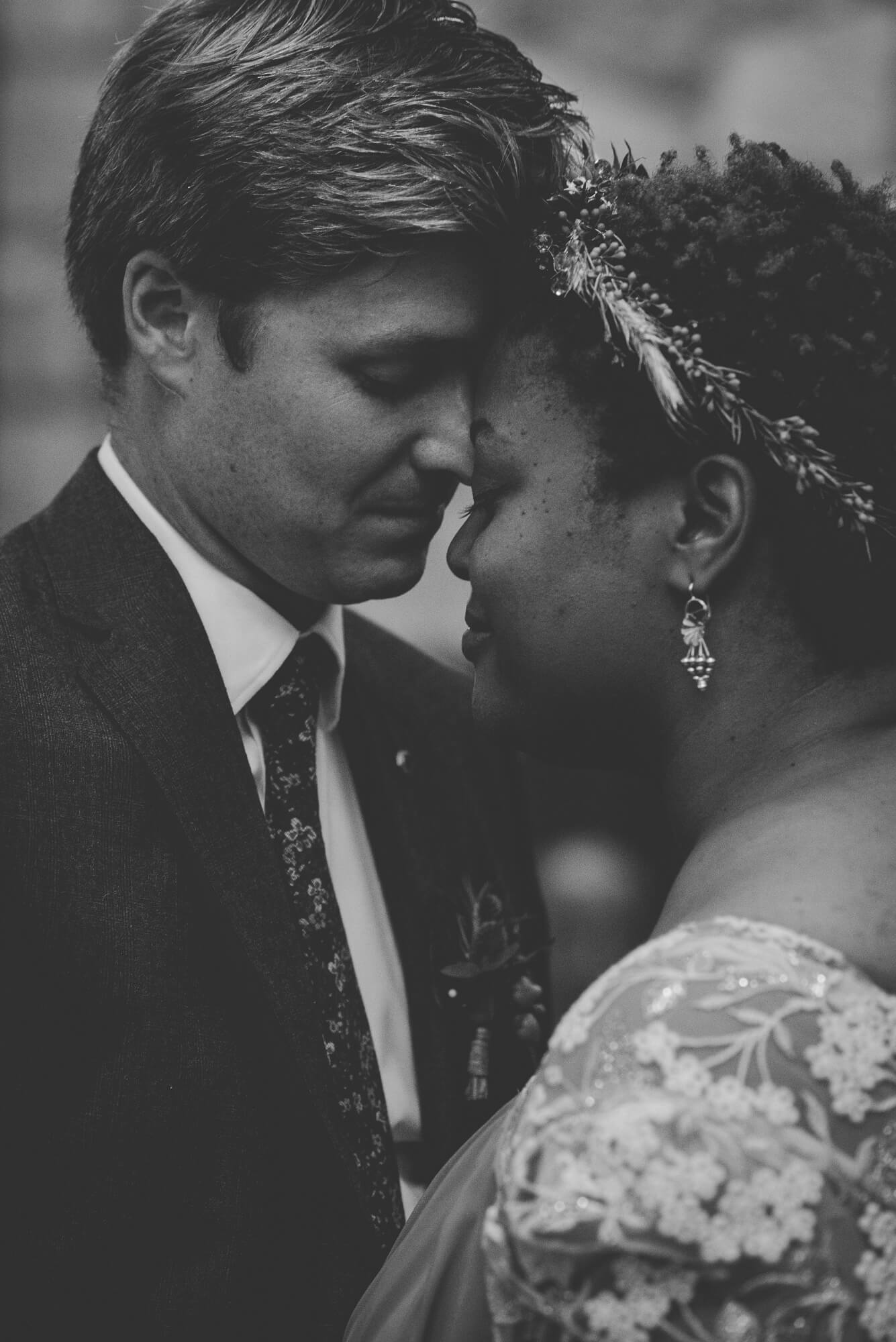 bride and groom share quiet intimate moment during first dance at wedding reception in New Westminster