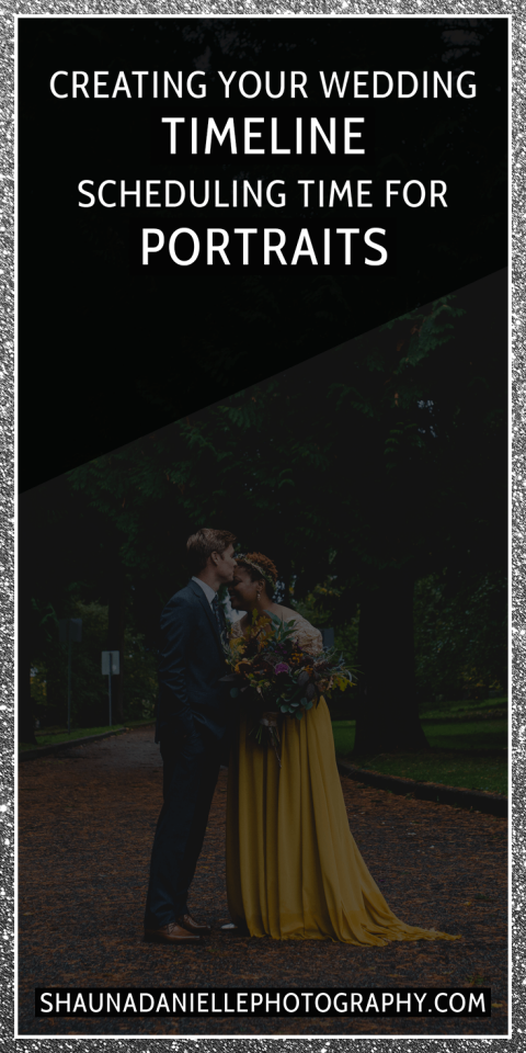 Advice from a wedding photographer on how much time to schedule for portraits when planning your wedding day timeline. | Click to see the full blog post! http://shaunadaniellephotography.com