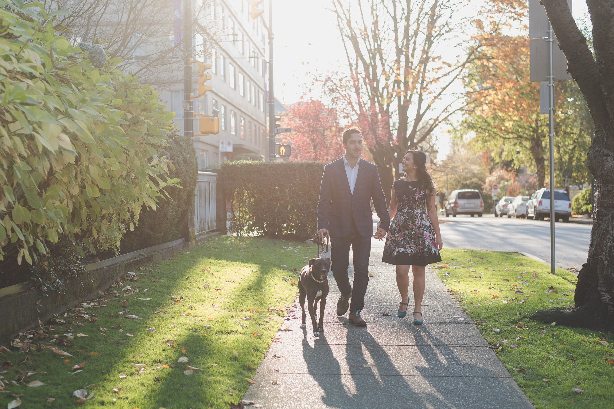 couple walking their dog on autumn afternoon in the West End in Vancouver